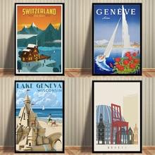 Pintura de lienzo de viaje de lago Geneva Suiza cuadro Vintage cartel Kraft pegatinas de pared recubiertas decoración del hogar regalo