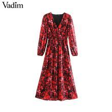 Vadim נשים אופנה דפוס פרחוני שיפון שמלת V צוואר ארוך שרוול אלסטי מותן אופנתי midi שמלות שיק vestidos QD203