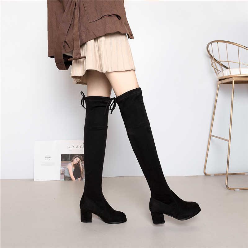 2019 femmes sur le genou bottes à lacets noir Sexy talons hauts chaussures femme haute botte compensée hiver confortable mode Botin Mujer