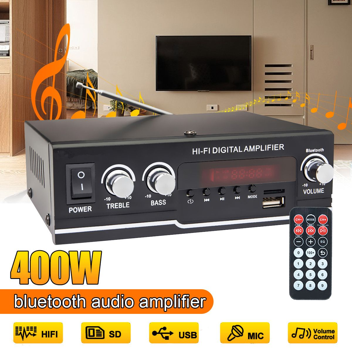 220V 400W Audio Power Amplifier 2 CH Home Theater Bluetooth Amplifiers HIFI Sound System Subwoofer Support FM USB SD Card