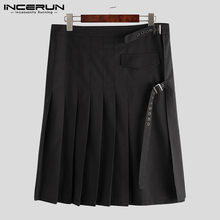 INCERUN Scottish Men Skirts Solid Color Vintage Streetwear Kilt Trousers Retro Pleated Skirts Personality Mens Bottoms Plus Size(China)