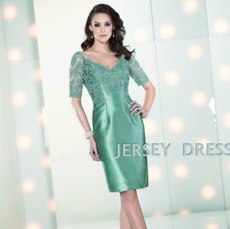 Free Sipping 2016 Customized Half Lace Green And Champagne V-neck Vestidos Formales Short Taffeta Mother Of The Bride Dresses