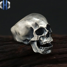 skull Ring S925 sterling silver jewelry Retro rock dark realistic ring