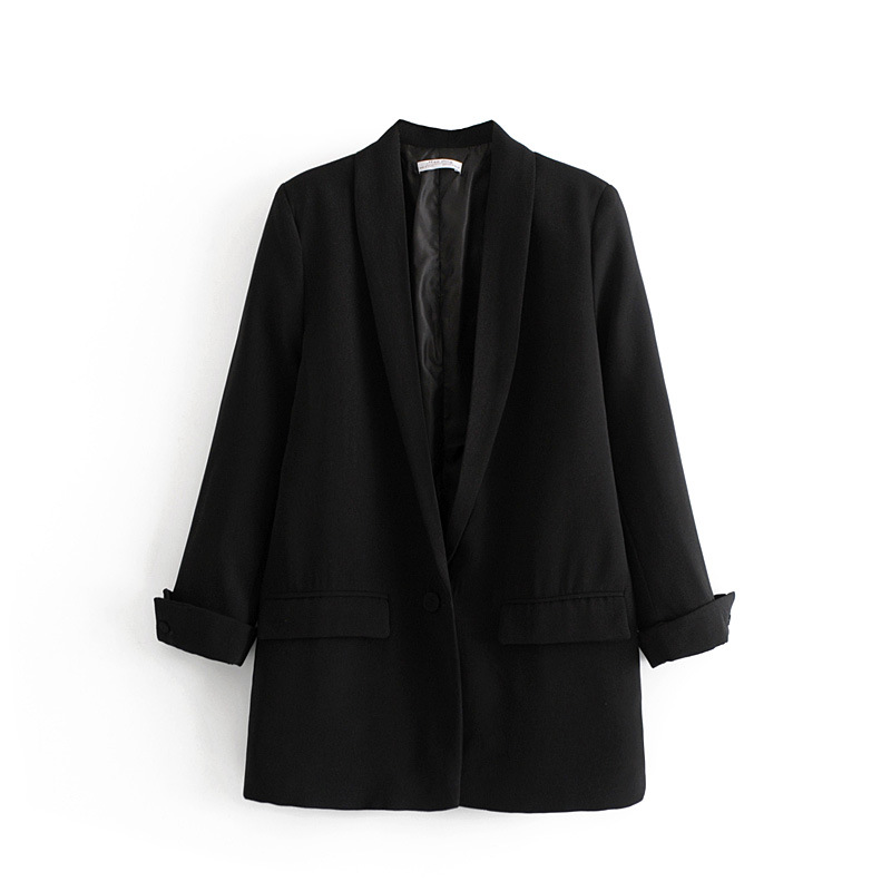 Women Solid Color Long Blazer Jacket Pleated Sleeve Loose Coat Office Lady Work Style Small Suit Single Button Blazer
