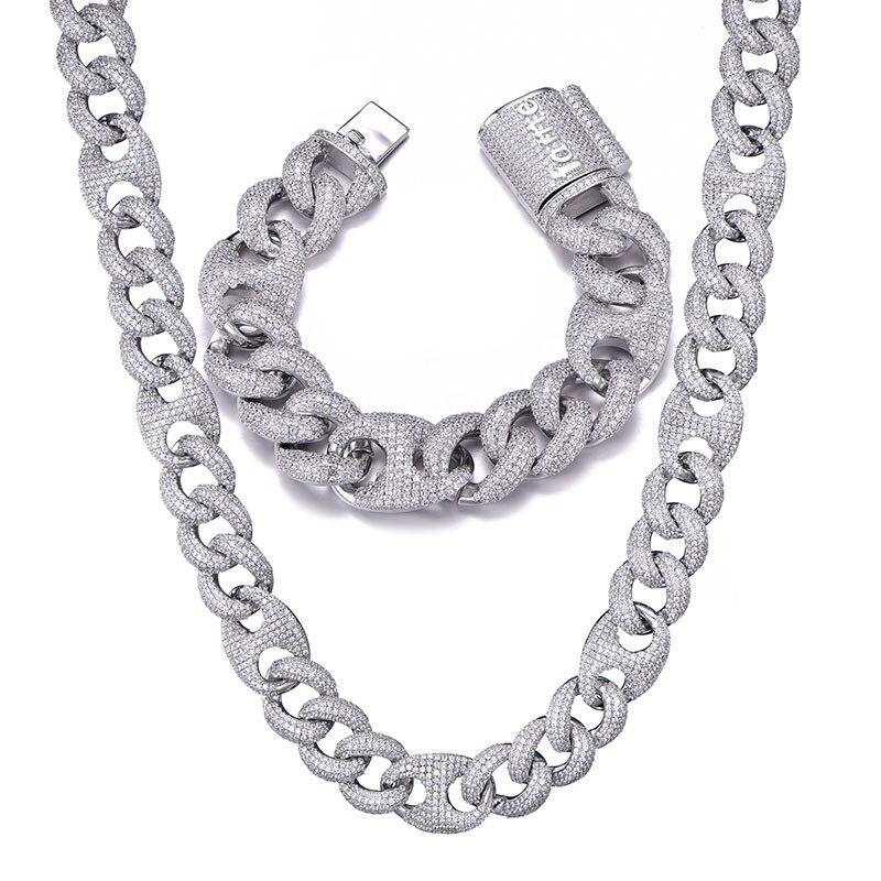 18MM ensemble Bling AAA CZ cubique zircone glacé boîte fermoir luxe cubain lien chaîne collier pour hommes rappeur Hip Hop bijoux 18''24'' - 2