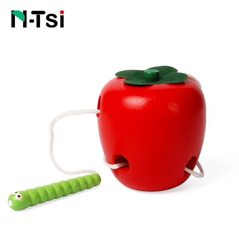N-Tsi The Caterpillar Eats The Apple Wooden Puzzle Fun Educational Kids Montessori Educational Baby Toys For Children Worm Gift