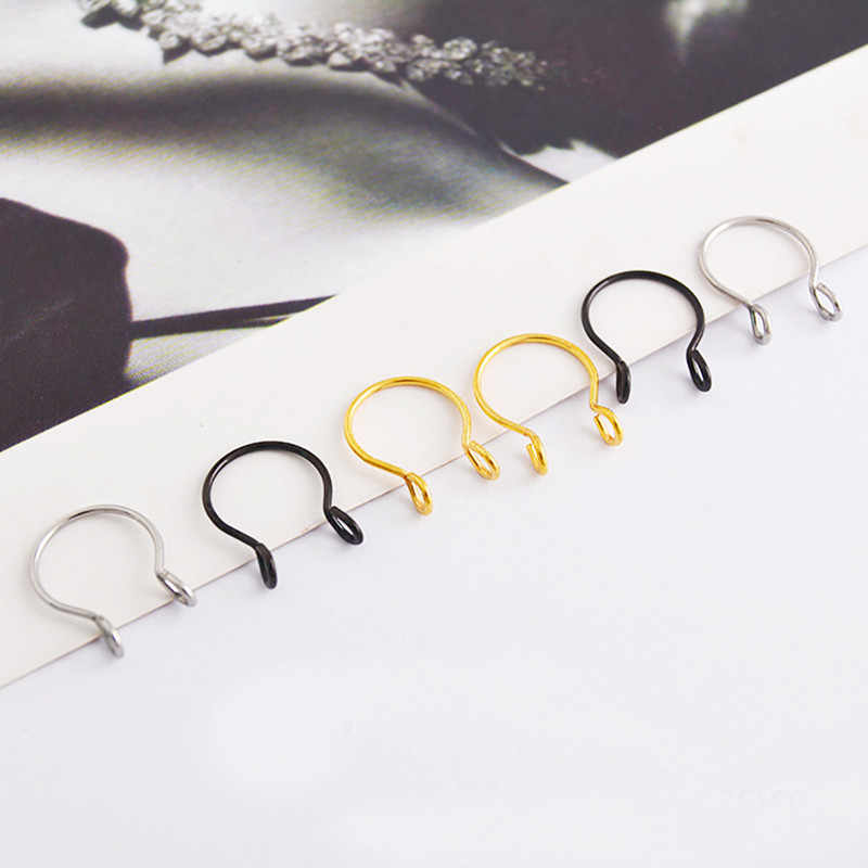 Hot 1pcs U Shaped Fake Nose Ring Hoop Septum Rings Stainless Steel Nose Piercing Fake Piercing Jewelry