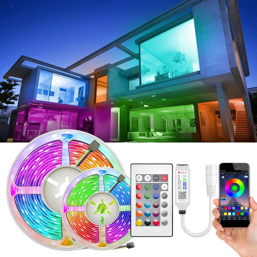 Listwy RGB LED 15M taśma oświetlająca Led 5050 SMD 2835 5M 10M DC 12V wodoodporna taśma LED RGB taśma z diodami elastyczny kontroler + Adapter ue