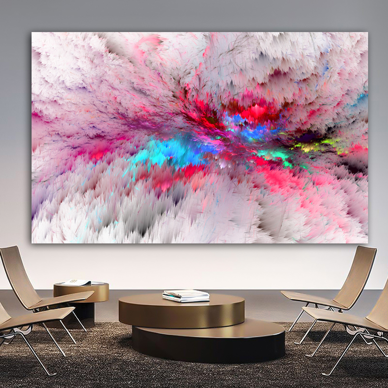 Wangart Purple  Cloud Abstract Oil Painting Think Independe Wall Picture For Living Room Canvas Modern Art Poster And Print