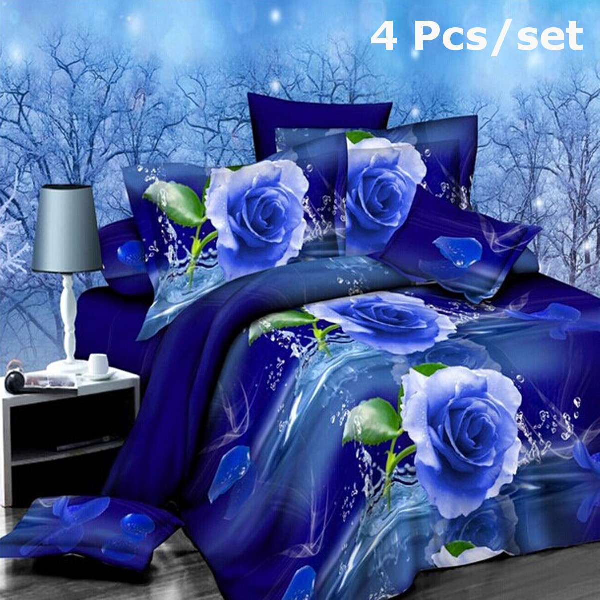 4Pcs 3D Printing Rose Bedding Set Quilt Cover Pillowcases Bed Sheets Set Queen Size Bedclothes Blue