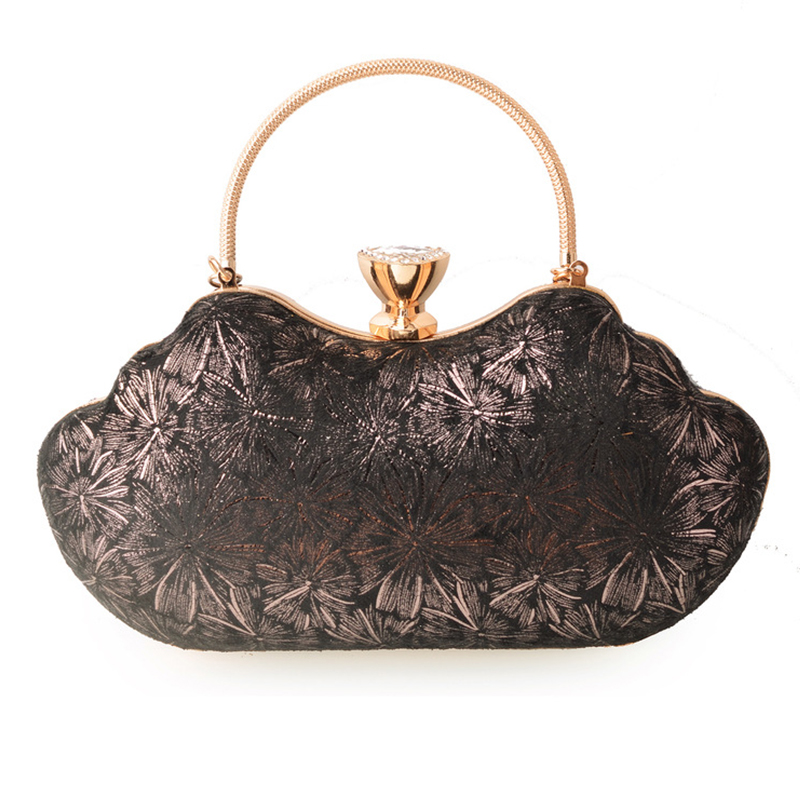 Long Chain Ladies Evening Clutch Bag Elegant Women's Printing Floral Black Party Shoulder Messenger Handbag Fashion Female Purse