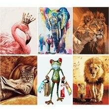 Çerçevesiz kedi aslan hayvanlar sayılar kitleri tarafından DIY boyama boyama By Numbers benzersiz hediye ev duvar sanat dekoru 40x50 sanat