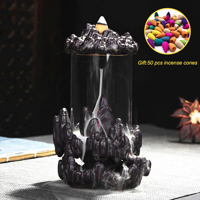 50pcs Incense Cones Buddha Backflow Incense Burner Glass Cover Indoor Windproof Personality Gift Cone Incense Holder Smoke Water