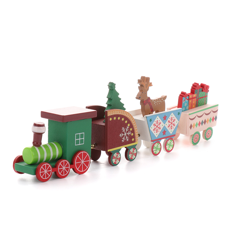 Car-Toys Christmas-Decoration Wooden Home-Ornament Gift for Kids Painted Cartoon 4pcs/Set