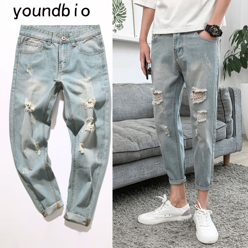 Mężczyźni 2021 wiosna i lato porwane jeansy oddychająca stylowa osobowość Casual Joker popularne Logo długie spodnie spodnie Haroun 6208