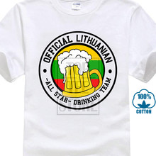 Mens Funny Cool Novelty Lithuanian Beer Team Lithuania Flag Joke T Shirts Gifts T Shirt Men Tees Brand Clothing Funny 019476(China)