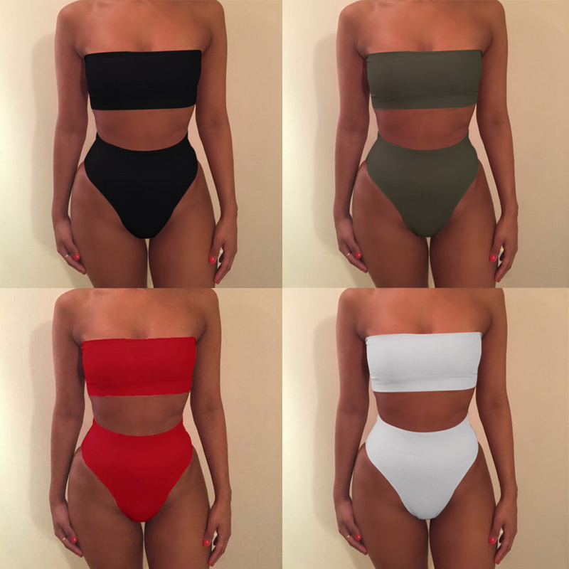 HIGH FEVER Fashion Solid Color Two-piece Swimming Sexy Lingerie Bra Bikini Split Swimsuit
