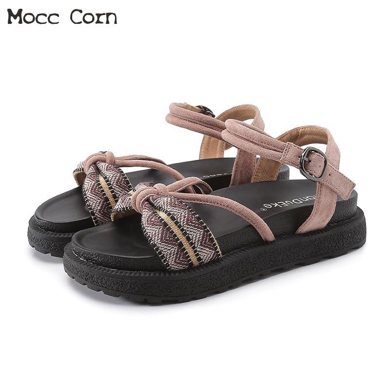 34~43 Plus Size Women Beach Platform Sandals Summer Peep Toe Ankle Strap Roman Sandals Gladiator Flat Shoes Woman Leather Sandal
