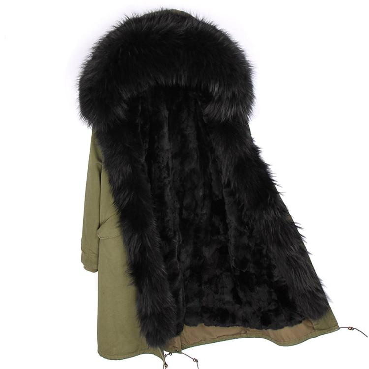 Moda mujer real conejo piel forro invierno chaqueta abrigo escorpión piel cuello desmontable con capucha larga ropa de diseñador DHL 5 7 - 3