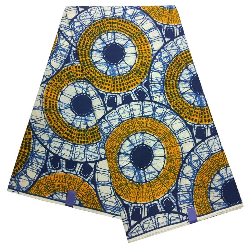 2019 New Design Yellow Circle Print Casual African Dashiki Wax Fabric