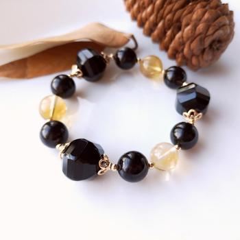Lii Ji Genuine Natural Stone Bracelet Citrine Black Agate Black Tourmaline 925 Sterling Silver 18K Gold Color Elastic Bracelet