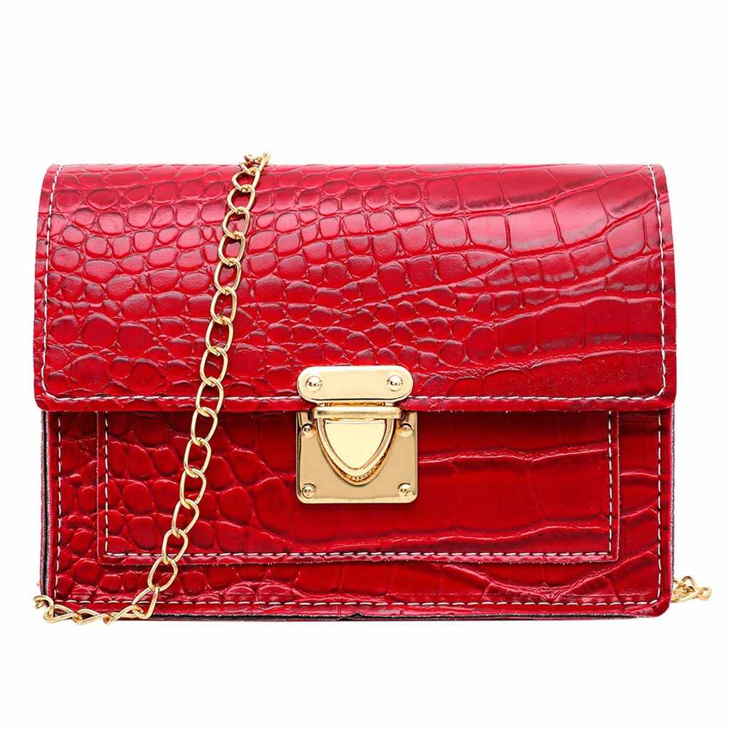 Crocodile Pattern Fashion Women Solid Color Hasp HandBag  Solid Color Shoulder Bag Messenger Bag Chain Strap Small Square Bag#25