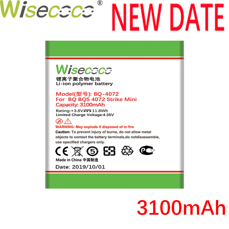 Wisecoco BQ-4072 2900mAh Newly Production Battery For BQ BQs-4072 Strike mini Phone Replacement+Tracking Number