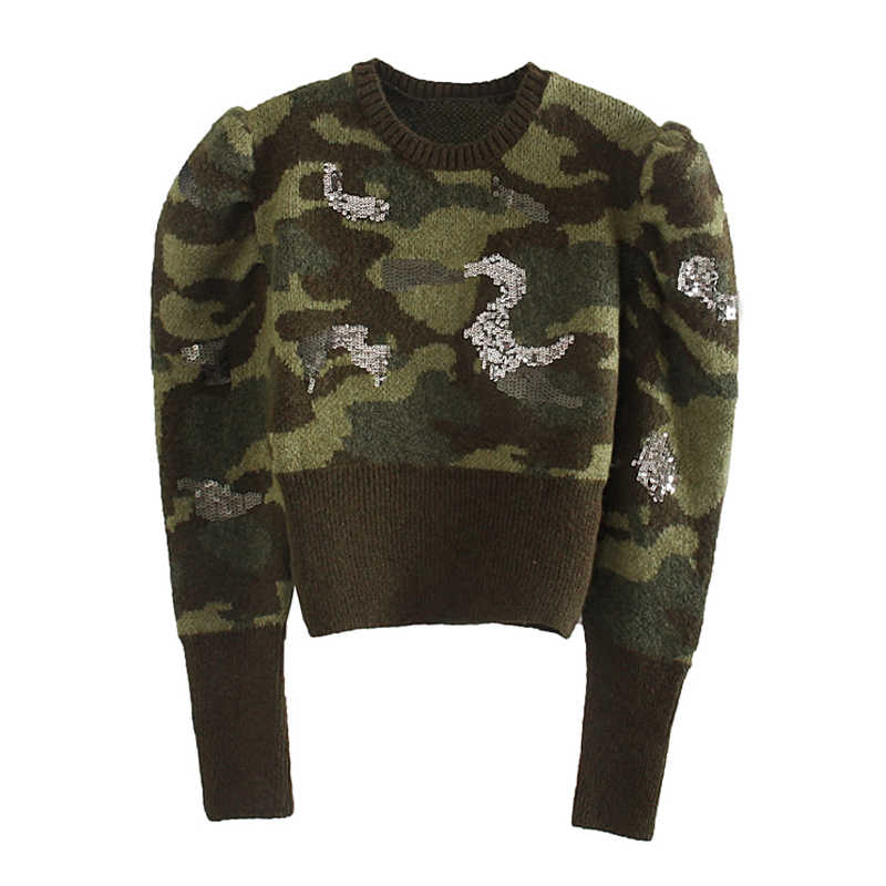 Sequined Short Slim Sweaters Women Fashion O Neck Camouflage Sweater Women Elegant Long Sleeve Sweaters Female Ladies KD