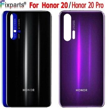 Перейти на Алиэкспресс и купить Задняя стеклянная крышка 6,26 дюймдля Huawei Honor 20 Pro крышка батареи задняя панель Honor 20 Задняя стеклянная дверь Корпус чехол с клеем