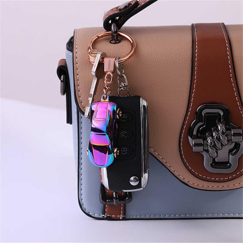 Porte-clés de voiture dominateur pour hommes, à la mode, pneus rotatifs colorés, réglage créatif de la lumière LED, beaux cadeaux pour hommes