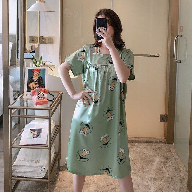 Ample grande taille maman chemise de nuit 75kg usure été à manches courtes femmes vêtements de nuit chemise Sexy soie robes de nuit fête maison casual