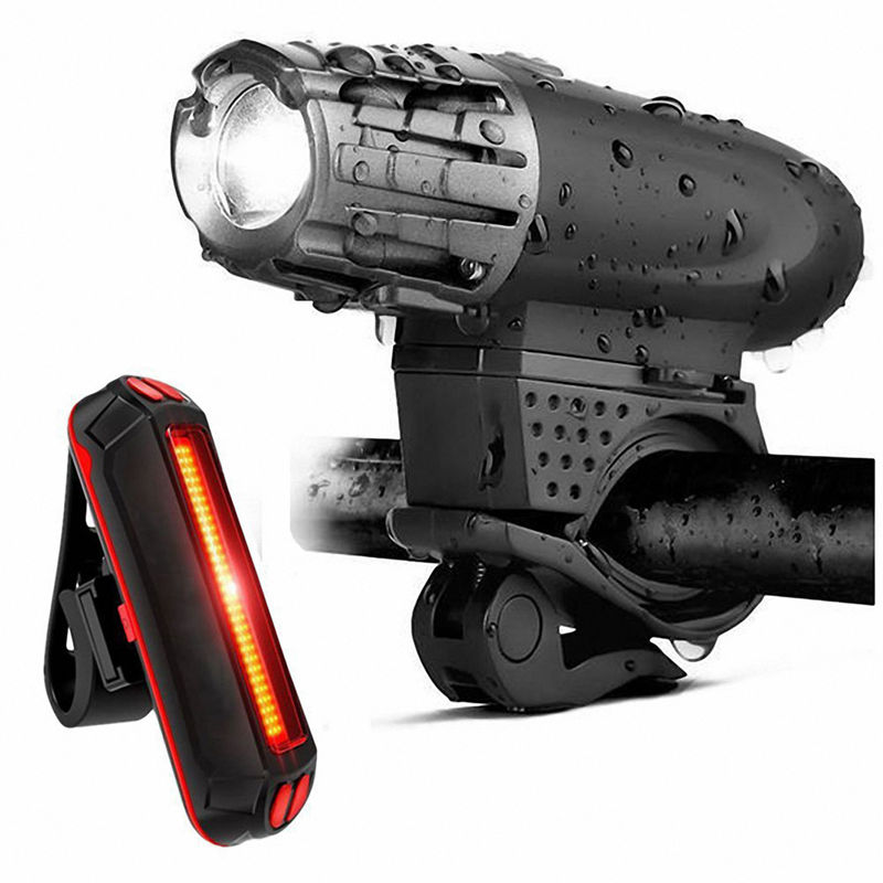 Bike Lights Bicycle Lights Front And Back USB Rechargeable Bike Light Set Super Bright Front And Rear Flashlight LED Headlight T