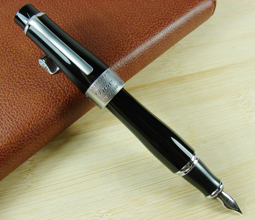 Duke 2009 Black Fountain Pen Memory Charlie-Chaplin Big Size Unique Style, Medium / Bent Nib Heavy Business Office Writing Pen