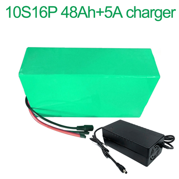 With 5A charger 36V 48Ah 10S16P 18650 Li-ion Battery Pack E-Bike Ebike electric bicycle 42V 305x195x70mm