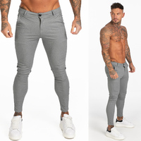 Gingtto Mens Chinos Slim Fit Skinny Pants For Men Chino Trousers Plaid Grey Designer zm 380 Pants