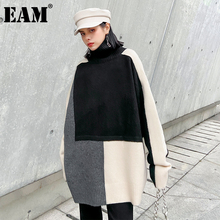 [EAM] Big Size Contrast Color Knitting Turtleneck Sweater Loose Fit Long Sleeve Women New Fashion Autumn Winter 2021 1DD2577