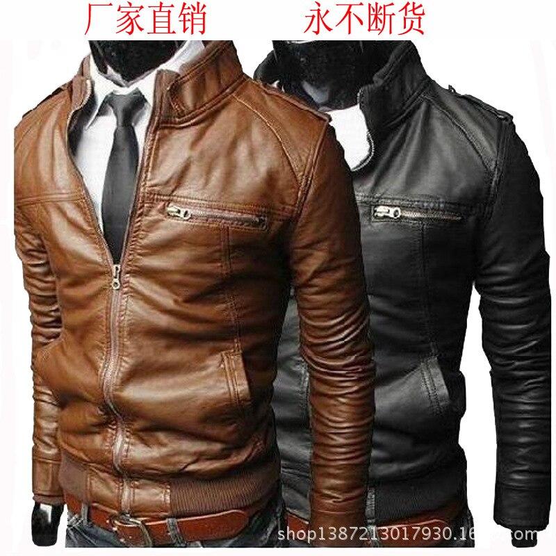 MEN'S WEAR Men Locomotive Leather Coat 2019 Autumn And Winter New Style Leather Coat Korean-style Slim Fit MEN'S Leather Jackets
