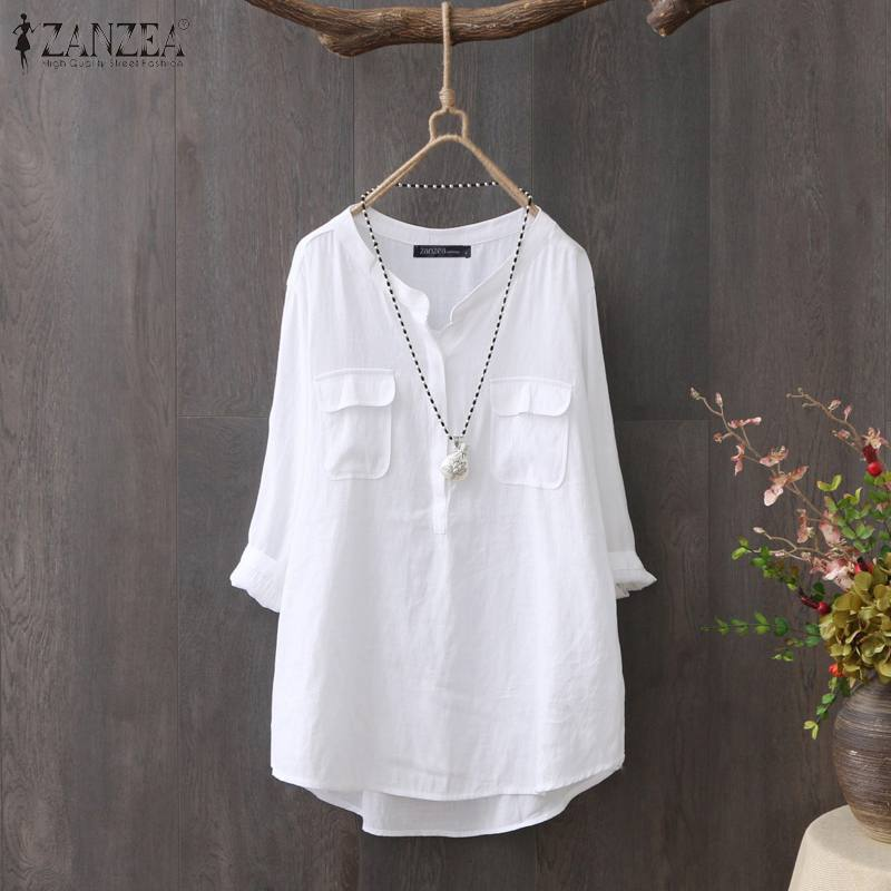 ZANZEA 2020 Vintage Blouse Office Lady Work OL Shirts Women Casual Long Sleeve Tunic Blusas CottonSolid Chemiser Mujer Plus Size