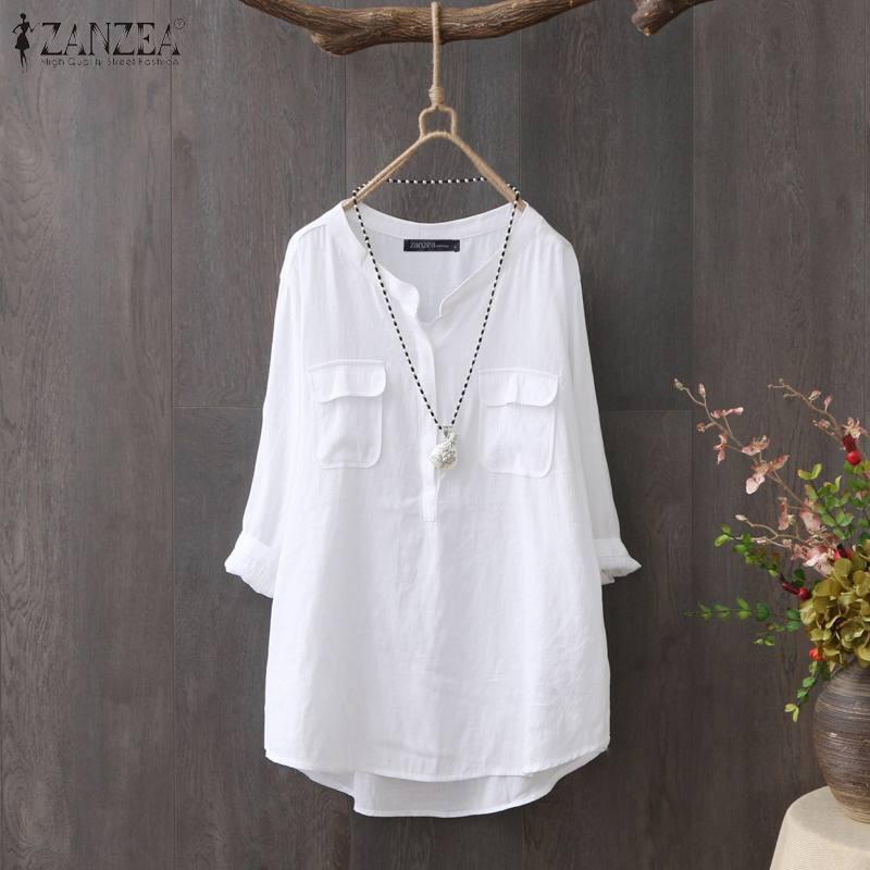 ZANZEA 2020 Vintage Blouse Office Lady Work OL Shirts Women Casual Long Sleeve Tunic Blusas CottonSolid Chemiser Mujer Plus Size