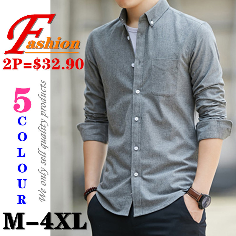 High-grade New Fashion Men's Business Casual All-match Anti-Pilling Comfortable Breathable Colorfast Cotton Long Sleeve Shirt
