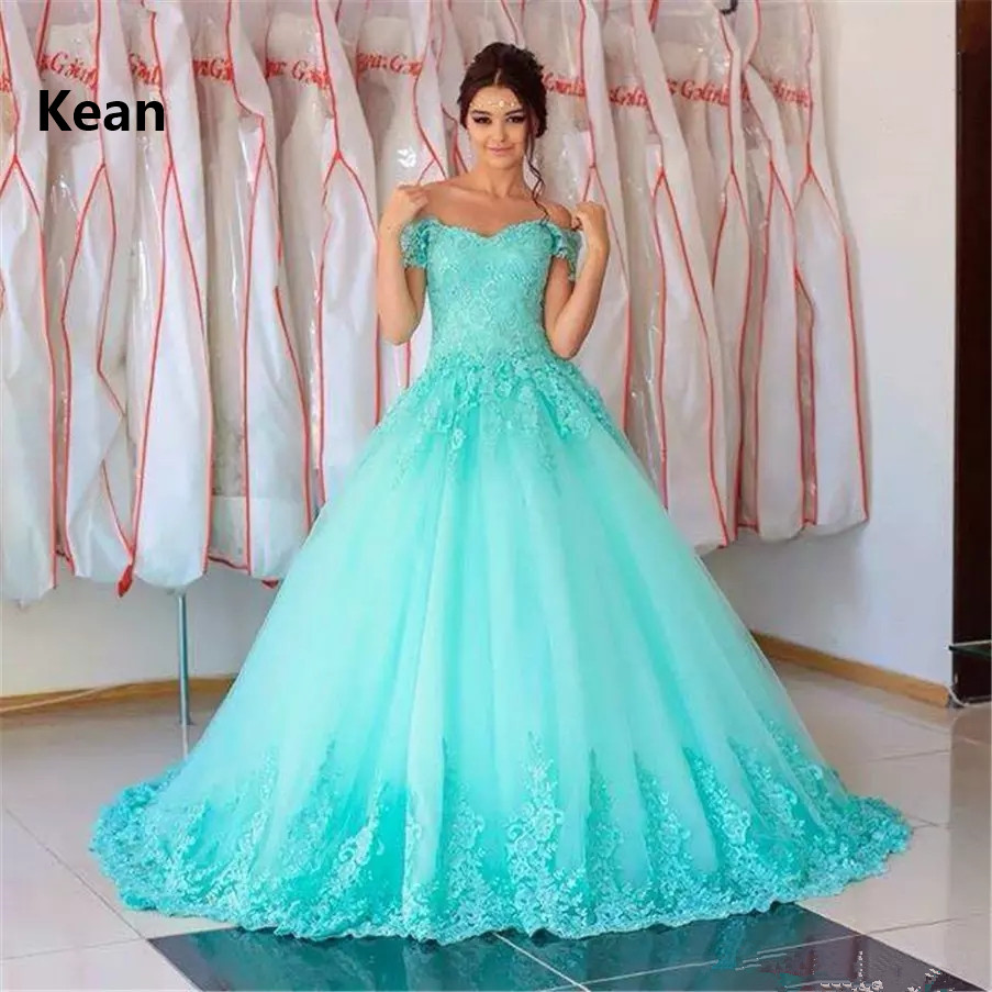 Turquoise Quinceanera <font><b>Dresses</b></font> Ball Gown Off the Shoulder Tulle Appliques Lace princess <font><b>Sweet</b></font> <font><b>16</b></font> <font><b>Dresses</b></font> Graduation Gown image
