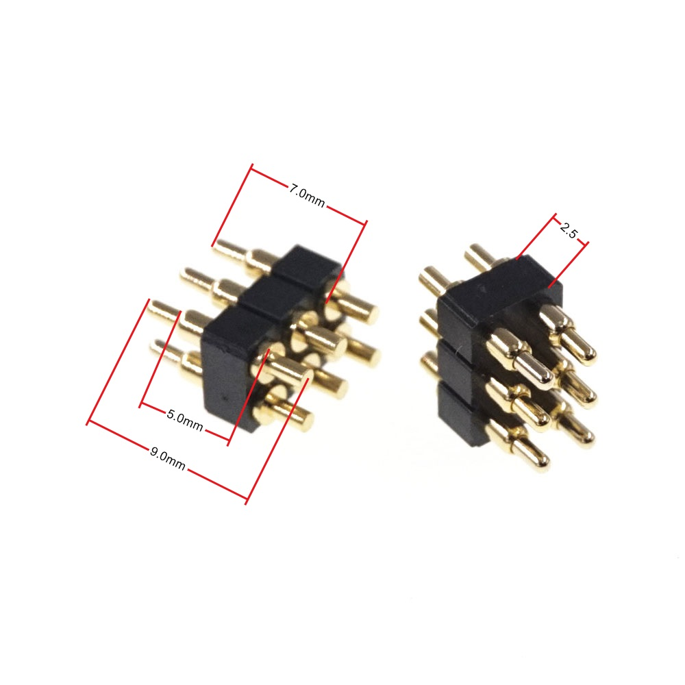 2 Pcs Spring Loaded Pogo Pin Connector 6 Position 2x3 Pins Pitch 2.54 Mm Grid Pitch Dual Row 7.0 Mm Height Through Holes PCB DIP