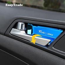цена на Car sticker interior door handle Bowl Cover wrist bowl trim sticker For Hyundai Tucson 2015 2016 2017 2018 2019 Accessrioes 4pcs