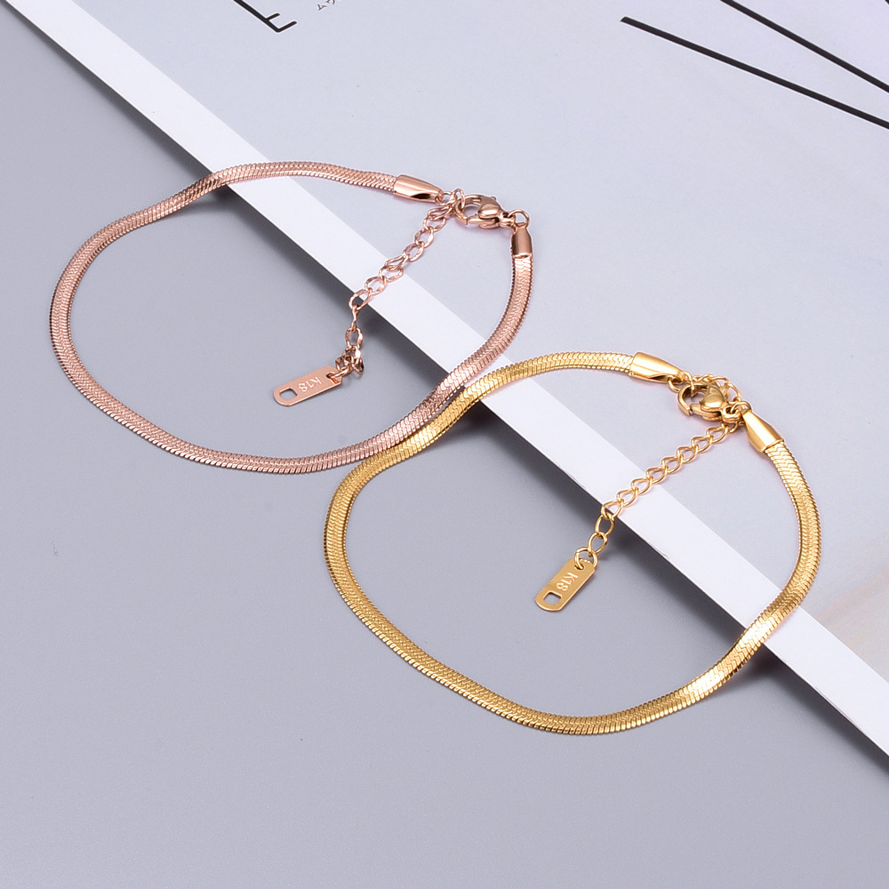 Flat Snake Chain Ankle Bracelet Boho Jewelry Bohemian Gold Color Chains Bracelets for Women Anklet Foot Jewelry