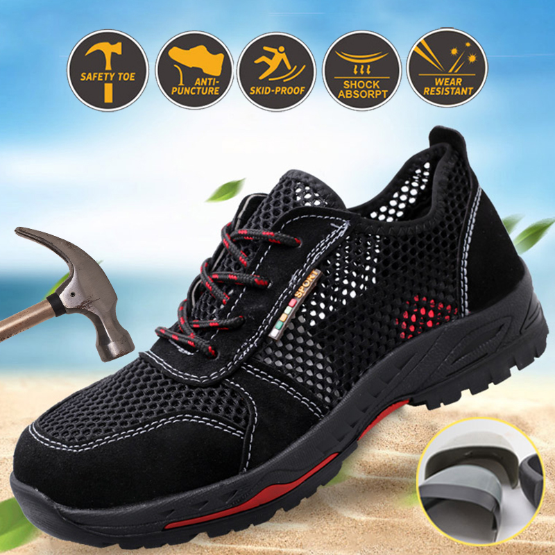 Summer Steel Toe Work Shoes Men Safety Shoes Non Slip Anti-Smashing Industrial Shoes Anti-Mite Anti-Piercing Mesh Sports Sandals
