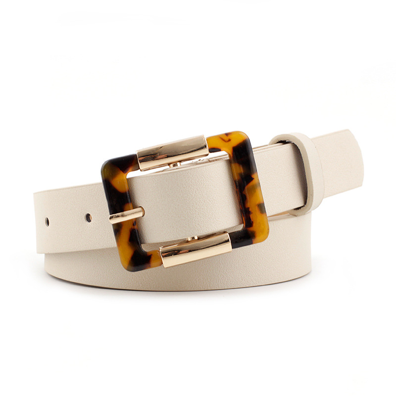 Belt Fashion Leopard Pattern Square Round Pin Buckle Belt Thin Jeans Belt PU Belt For Women White Black Camel