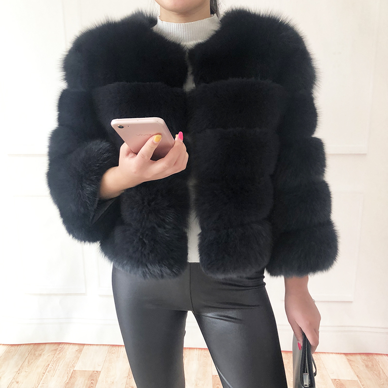 2019 new style real fur coat 100% natural fur jacket female winter warm leather fox fur coat high quality fur vest Free shipping 163