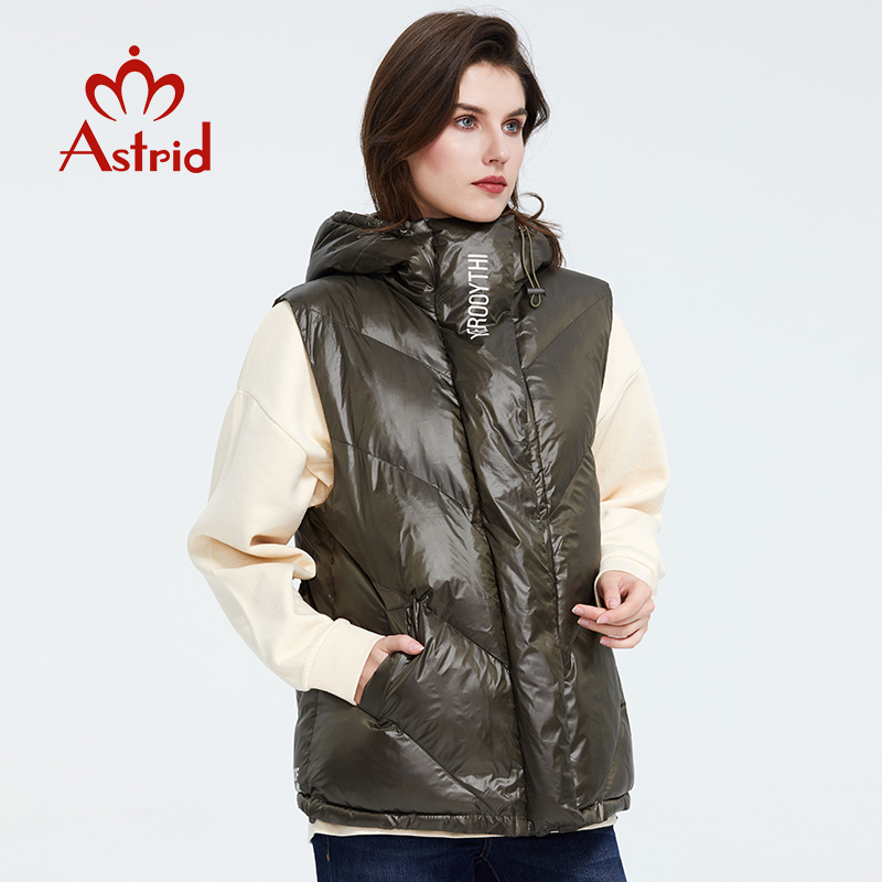 Astrid 2020 Spring Autumn Women Sleeveless Parka Coat Warm Jacket Women Thicken Cotton Loose Hooded Green Cotton Vest  ZR-7218