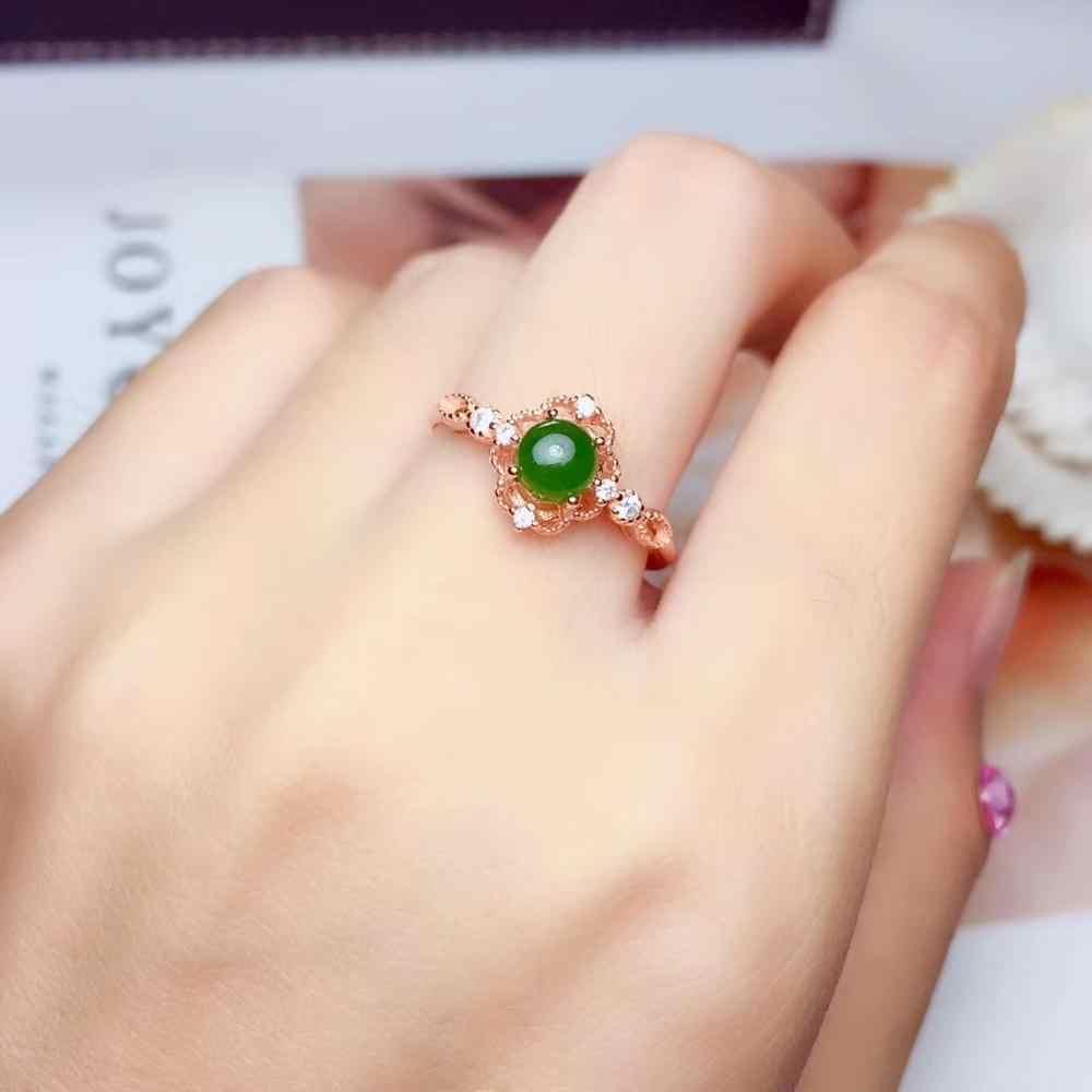 สไตล์ใหม่แหวนหยกและชุดเครื่องประดับสร้อยคอเงิน 925 สำหรับผู้หญิง