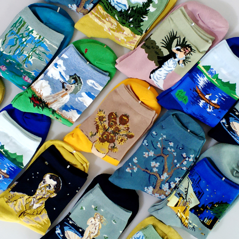 Abstract Art Cartoon Streetwear Kawaii Short Socks Van Gogh Renaissance Oil Paint Cotton Socks Happy Women Warm Funny Cute Socks